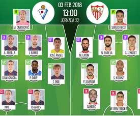 Os onzes de Eibar e Sevilla para o duelo deste sábado. BeSoccer