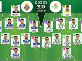 Les compos officielles du match de Liga entre l'Espanyol et le Betis Séville. BeSoccer