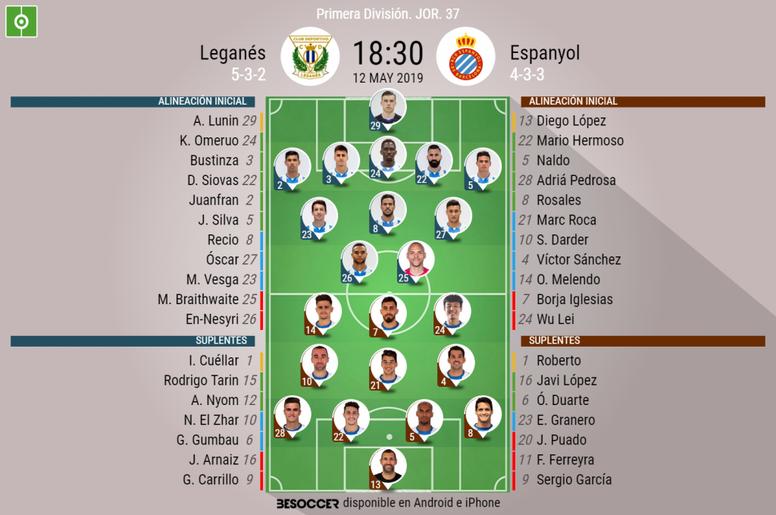 Onces confirmadois del Leganés-Espanyol. BeSoccer