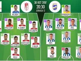 Alineaciones confirmadas del Granada-Lorca de la jornada 12 de Segunda División 17-18. BeSoccer