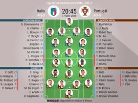 Alineaciones confirmadas del Italia-Portugal de la Jornada 5 de la Liga de las Naciones. BeSoccer