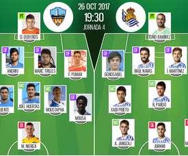 Alineaciones confirmadas del Lleida-Real Sociedad de la Copa del Rey 17-18. BeSoccer