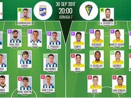 Alineaciones confirmadas del Lorca-Cádiz de la séptima jornada de Segunda División. BeSoccer
