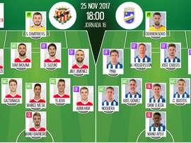 Alineaciones confirmadas del Nàstic-Lorca de la jornada 16 de Segunda División 17-18. BeSoccer