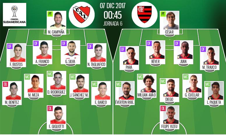 Os onzes de Independiente e Flamengo para o jogo desta quarta-feira. BeSoccer