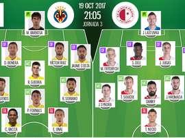 Alineaciones de Villarreal y Slavia de Praga para la jornada 3 de la Europa League 2017-18. BeSoccer