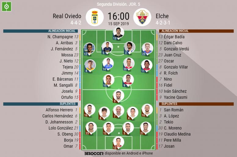 Onces del Oviedo-Elche. BeSoccer