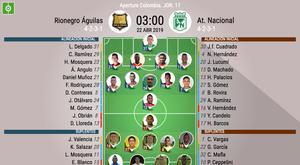 Alineaciones confirmadas del Rionegro Águilas-Atlético Nacional. BeSoccer