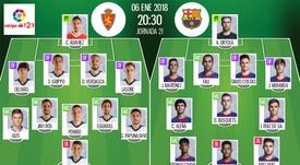 Alineaciones confirmadas del Zaragoza-Barça B de la Jornada 21 de Segunda División 17-18. BeSoccer