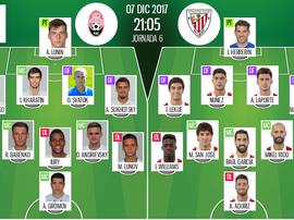 Alineaciones confirmadas del Zorya-Athletic de la jornada 6 de Europa League 17-18. BeSoccer