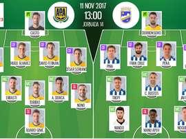 Alineaciones confirmadas para el Alcorcón-Lorca de la jornada 14 de Segunda División 17-18. BeSoccer