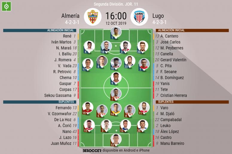 Onces del Almería-Lugo. BeSoccer