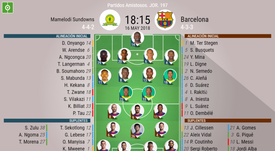 Official lineups for Mamelodi Sundowns and Barcelona. BeSoccer