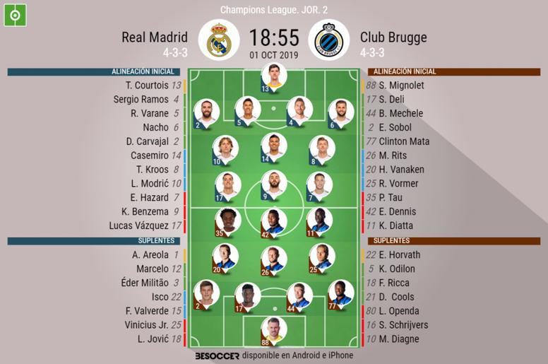 Compos officielles Real Madrid-Bruges, Champions League, J2, 31/09/2019. BeSoccer