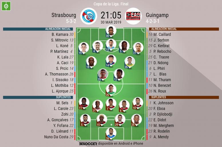 Alineaciones de Estrasburgo y Guingamp para la final de la Copa de la Liga francesa. BeSoccer