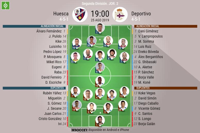 Alineaciones correspondientes al Huesca-Deportivo de la Jornada 2 de Segunda 2019-20. BeSoccer