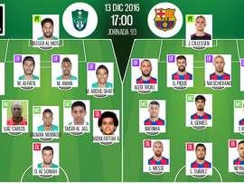 Les compos officielles du match entre Al-Ahli et Barcelone. BeSoccer