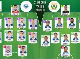 Alineaciones de Alavés y Leganés en la Jornada 20 de Primera División 17-18. BeSoccer