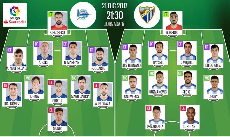 As escalações de Alavés e Málaga para este jogo. BeSoccer