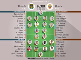 Onces oficiales de Alcorcón y Almería. BeSoccer