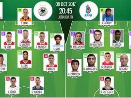 Once del Alemania-Azerbaiyán para la jornada 10 de las eliminatorias europeas de Rusia 2018.BeSoccer