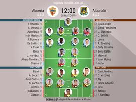 Onces confirmados de Almería y Alcorcón. BeSoccer
