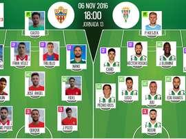 Alineaciones de Almería y Córdoba en Jornada 13 de Segunda División 16-17. BeSoccer