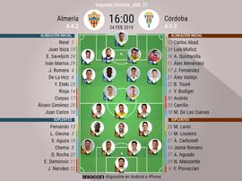 Onces oficiales de Almería y Córdoba. BeSoccer