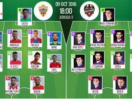 Alineaciones de Almería y Levante para el encuentro de la jornada 9 de Segunda 2016-17. BeSoccer