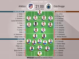 Formazioni ufficiali Atletico Madrid-Club Brugge. BeSoccer