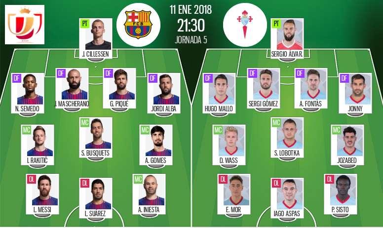 Official lineups Barcelona-Celta. BeSoccer