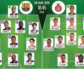 Formazioni ufficiali Barcellona-Girona. BeSoccer