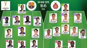 Escalações de Barcelona e Girona para a final da Supercopa da Catalunha. BeSoccer