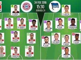 Les compos officielles du match de Bundesliga entre le Bayern Munich et l'Hertha Berlin. BeSoccer