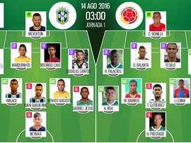 Alineaciones de Brasil y Colombia del 14-08-16. BeSoccer