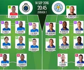 Alineaciones de Brugge y Leicester para el encuentro de la jornada 1 del Grupo G de la Champions League 2016-17. BeSoccer