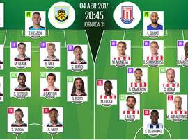 Alineaciones de Burnley y Stoke City en Jornada 31 de Premier League 16-17. BeSoccer