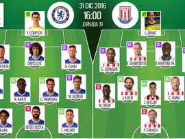 Alineaciones de Chelsea y Stoke City en Jornada 19 de Premier League 16-17. BeSoccer