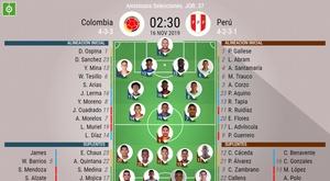 Onces de Colombia y Perú para su amistoso del parón de noviembre. BeSoccer