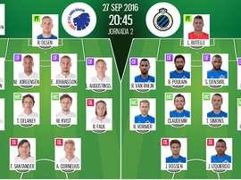 Alineaciones de Copenhague-Brujas de la Jornada 2 de la Champions League 16-17. BeSoccer