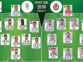 Alineaciones de Córdoba y Valladolid en Jornada 12 de Segunda División 16-17. BeSoccer