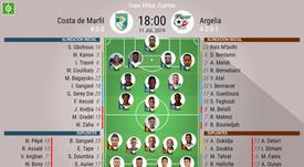 Onces confirmados de Costa de Marfil y Argelia. BeSoccer