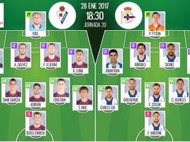 Alineaciones de Eibar y Deportivo de La Coruña en Jornada 20 de LaLiga 16-17. BeSoccer