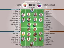 Onces confirmados de Elche y Extremadura. BeSoccer