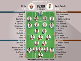 Alineaciones confirmadas de Elche y Oviedo. BeSoccer