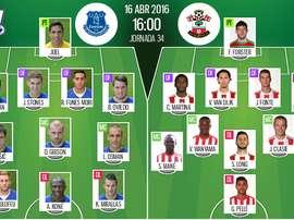 Alineaciones de Everton y Southampton en Jornada 34 de Barclays Premier League 15-16. BeSoccer