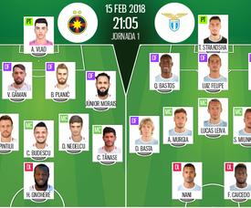 Alineaciones de FCSB e Lazio. BeSoccer