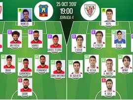 Les compos du match de Coupe du Roi entre Formentera et l'Athletic. BeSoccer