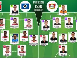 Os onzes do Hamburgo e Leverkusen. BeSoccer