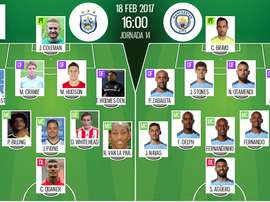 Alineaciones de Huddersfield y Manchester City en 18-2-17. BeSoccer
